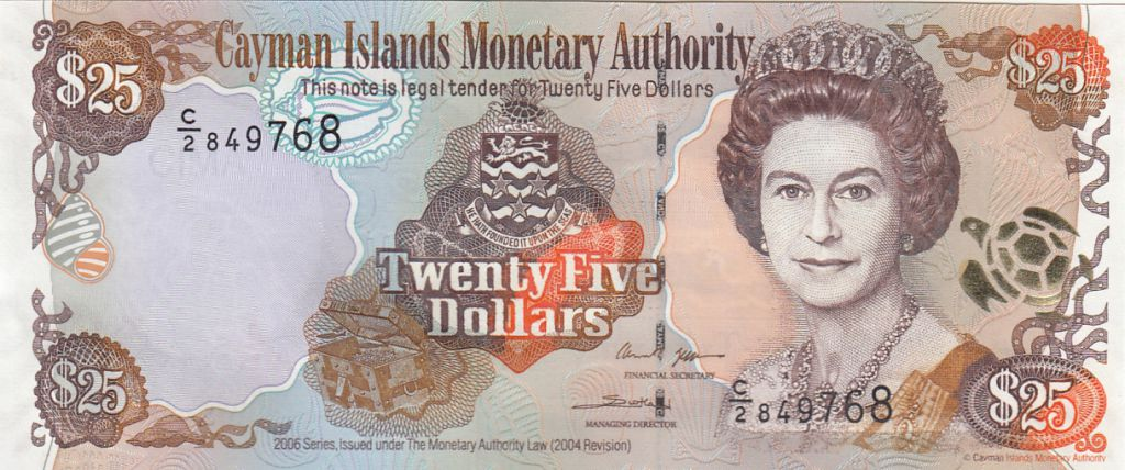 Cayman Islands 25 Dollars  Elizabeth II, islands map - 2006 Serial C2