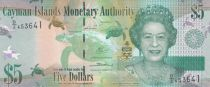 Cayman Islands 5 Dollars Elizabeth II and Turtles - Parrots - 2014 - UNC - P.39b