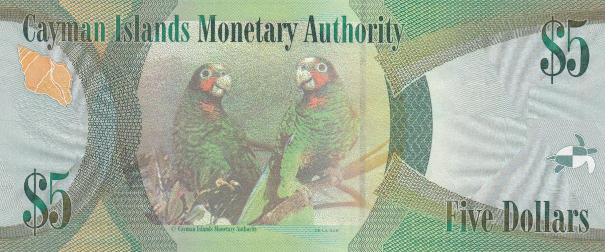 Cayman Islands 5 Dollars Elizabeth II and Turtles - Parrots - 2014 - UNC - P.39b