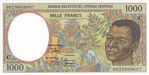 Central African States 1000 Francs Young man - Harvesting coffee beans - 2000  - Congo