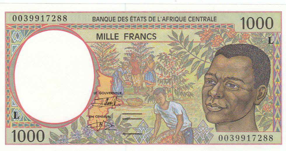 Central African States 1000 Francs Young man - Harvesting coffee beans - 2000