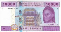 Central African States 10000 Francs Woman - Fisherman