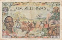 Central African States 5000 Francs - 1980 - Chad - Serial K.1 - F to VF - P.08