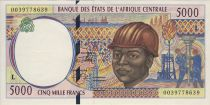Central African States 5000 Francs - Worker - Gathering cotton - 2000 - Gabon