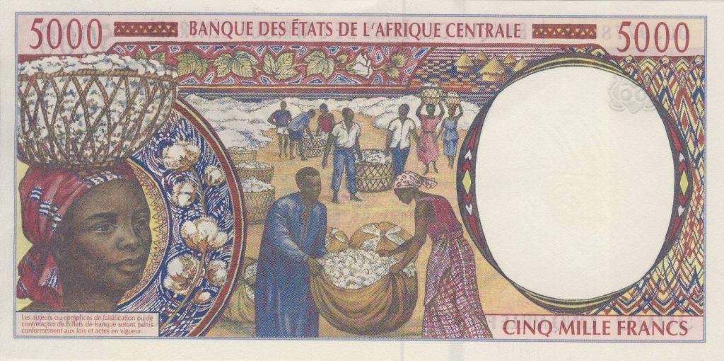 Central African States 5000 Francs - Worker - Gathering cotton - 2000 - Gabon