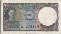 Ceylan 1 Rupee George VI - Eléphant - 1941