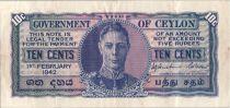Ceylan 10 Cents George VI - Uniface - 1942