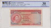 Ceylon 5 Rupees Elisabeth II - Statue - 1954 - PCGS VF 30