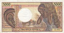 Chad 5000 Francs - 1984 - Error note partial printing