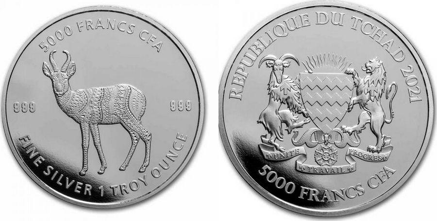 Chad 5000 Francs Antelope - Oz Silver 2021