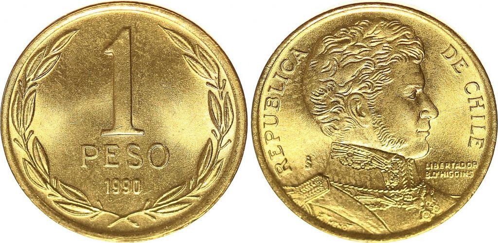 Chile 1 Peso 1990 - Bernardo O´Higgins