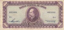 Chile 10000 Pesos -  Manuel Balmaceda-  1947-1959 Serial D.5 - P.118 - aVF