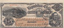 Chile 5 Pesos 1916 - P.18b - VF to XF