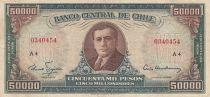 Chile 50 Escudos / 500.000 Pesos -  A. Alessandri - Serial A.4 - P.133 - Fine+