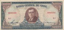 Chile 50000 Pesos -  A. Alessandri - 1958-1959 -  Serial A.2 - P.123 - F to VF