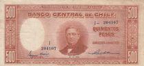 Chili 500 Pesos -  M. Montt 1945 Série J - P.106 - SUP