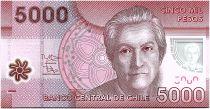 Chili 5000 Pesos Gabriela Mistral - Prix Nobel 1945 - 2014 - Neuf - P.163e