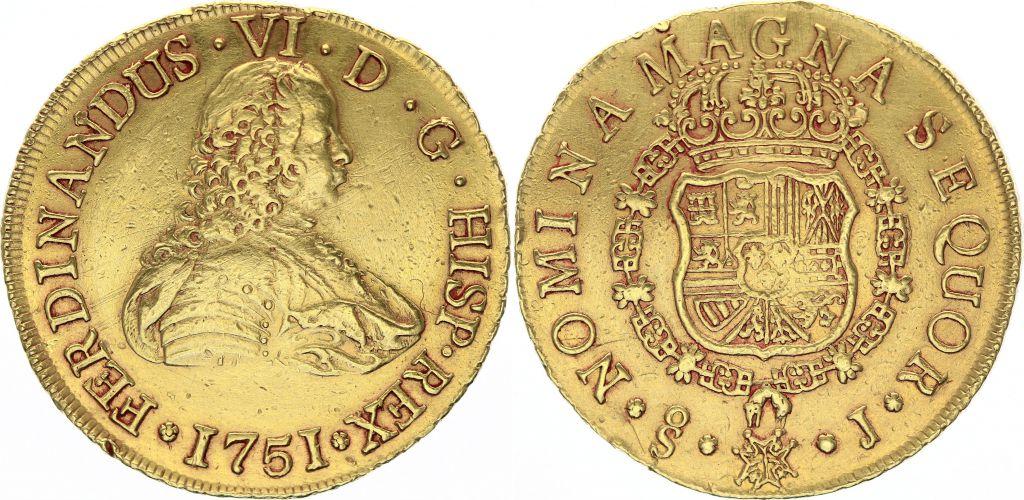 Chili 8 Escudos Ferdinand VI - 1751 J