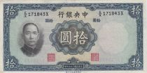 China 10 Yuan, Port. SYS - Arbres et Temple - 1936