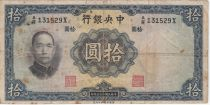 China 10 Yuan, Port. SYS - Arbres et Temple - 1936