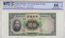 China 5 Yuan  - Sys -  Imperial Palace - 1936 - PCGS 66OPQ