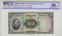 Chine 5 Yuan  - Sys - Palais Impérial - 1936 - PCGS 66OPQ