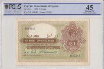 Chypre 1 Pound George VI - PCGS EF 45