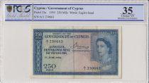 Chypre 250 Mils Elisabeth II - 1955 - PCGS VF35