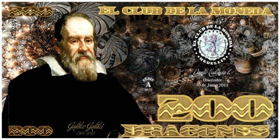 Colombia (Club de Medellin) 200 Dragones, Galileo (1564-1642) - 2013