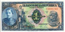 Colombia 1 Peso Oro, Gal Santander - Simon Bolivar - 1954