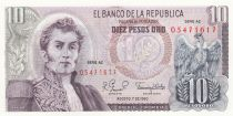 Colombia 10 Pesos de Oro de Oro, A. Narino, condor - Archeological Site - 1980