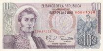 Colombia 10 Pesos Gal Narino- 07-08-1980 - Serial AZ - UNC - P.407