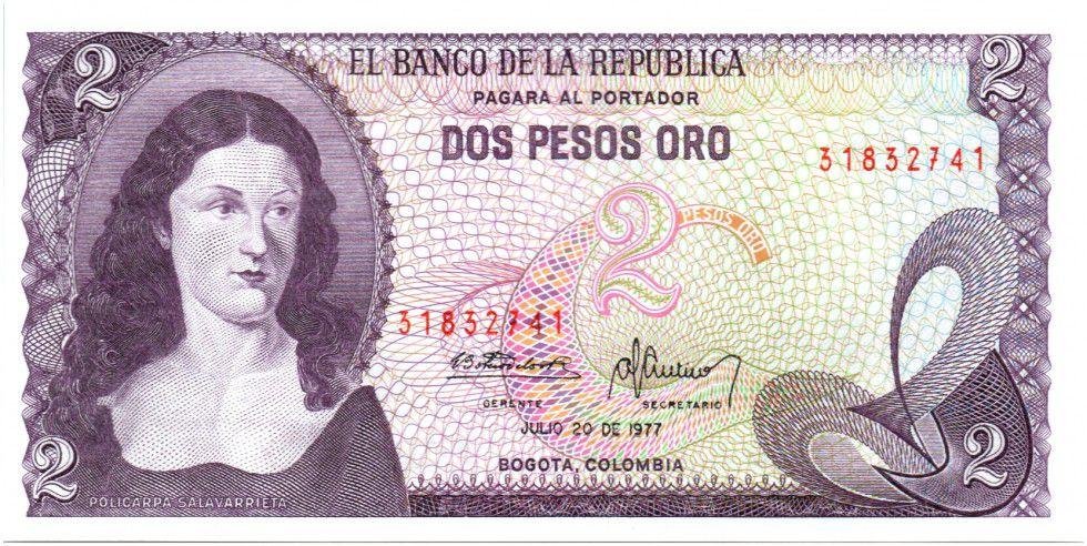 Colombia 2 Pesos de Oro de Oro, Policarpa Salavariette - El Dorado 1977