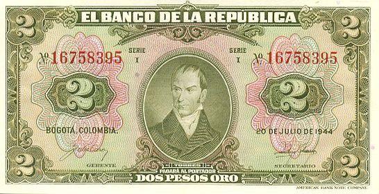 Colombia 2 Pesos oro oro, C. Torres
