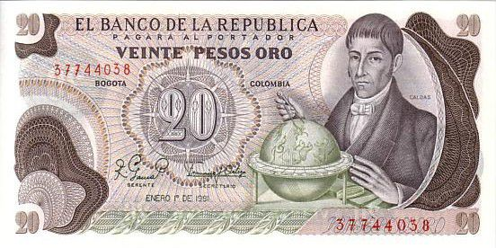 Colombia 20 Pesos de Oro de Oro, F. J. de Caldas, card of the world - 1981