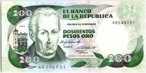 Colombia 200 Pesos oro, J. C. Mutis - National Observatory - 1985