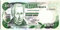 Colombia 200 Pesos oro, J. C. Mutis - National Observatory - 1988