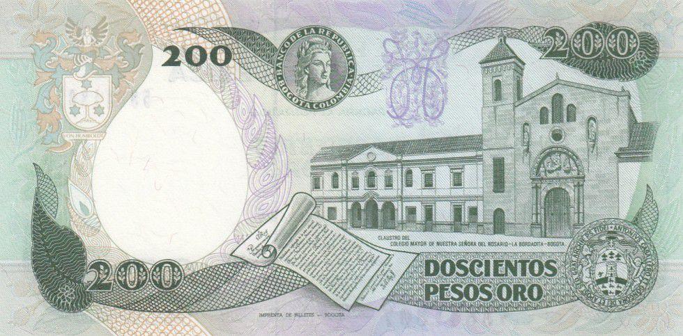 Colombia 200 Pesos oro oro, J. C. Mutis - National Observatory - 1991