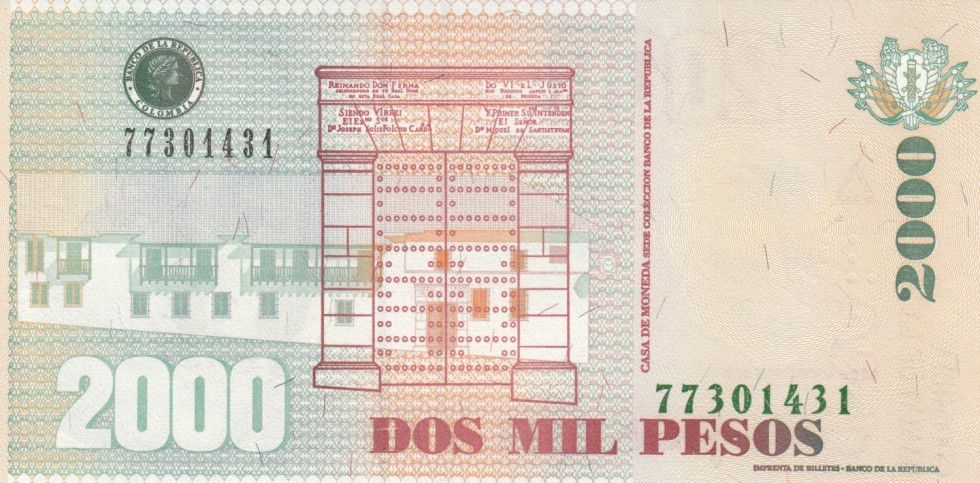 Colombia 2000 Pesos Gal Santander (Small size) - 2013