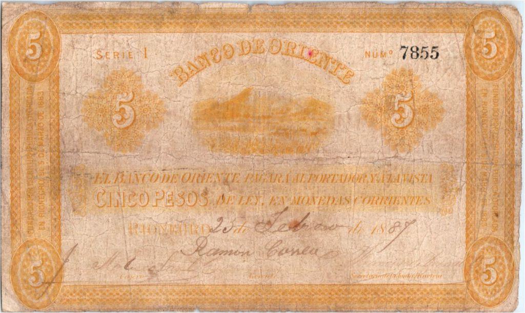 Colombia 5 Pesos Mountains 1887