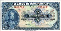 Colombia 5 Pesos Oro, Gal Cordoba - 1940 - AU