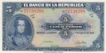 Colombia 5 Pesos Oro, Gal Cordoba - 1944 - AU - P.386c