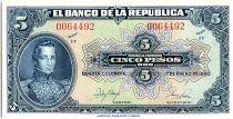 Colombia 5 Pesos Oro, Gal Cordoba - 1950 - Unc