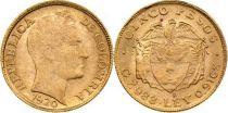 Colombia 5 Pesos Simon Bolivar - 1920 - Gold