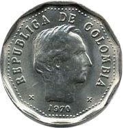 Colombia 50 Centavos Simon Bolivar - 1970-1982