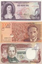 Colombia Set of 5 banknotes  - 2 to 1000 Pesos - 1977 to 2001