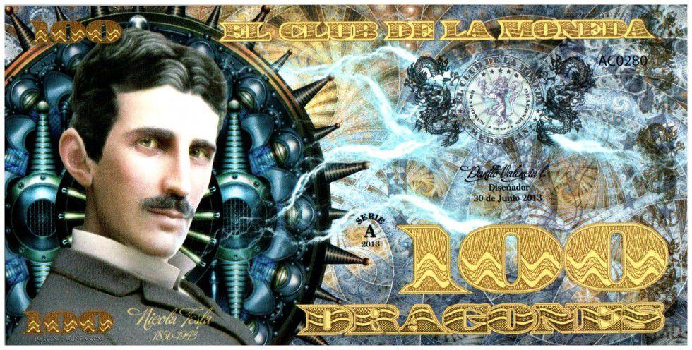 Colombie (Club de Medellin) 100 Dragones, Nicola Tesla (1856-1943) - 2013