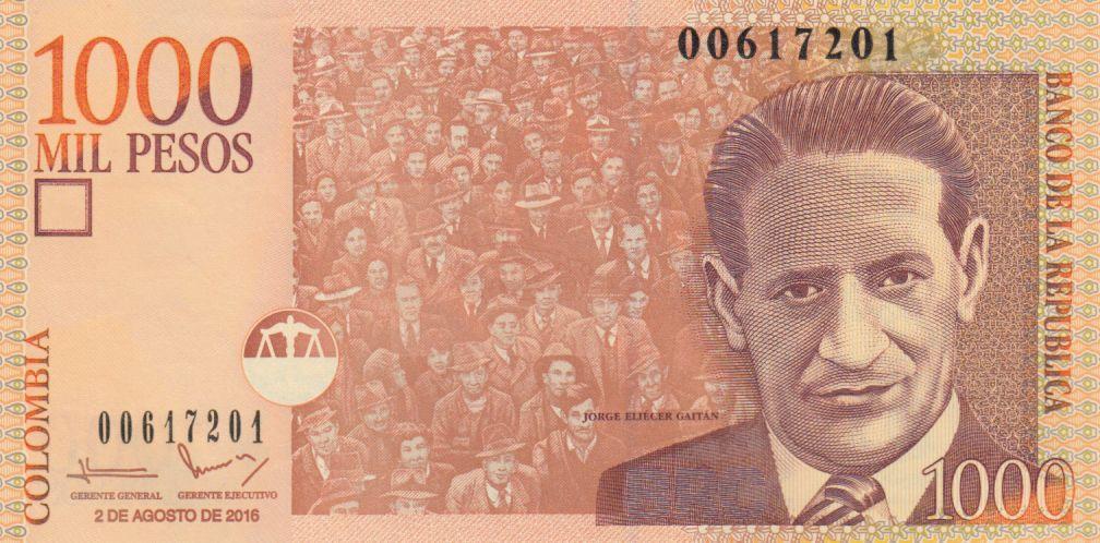 Colombie 1000 Pesos J. Eliecer Gaitan - 2016