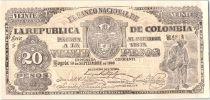 Colombie 20 Pesos Vieil homme - Mules et montagnes - 1900