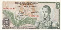 Colombie 5 Pesos de Oro de Oro, Condor, José Maria Cordoba - 1980